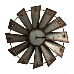 Windmill Wall Clock Western Rustic Home Decor Country 14.5quot; Farmhouse Gift New $50.46