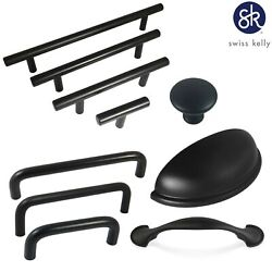 Swiss Kelly Hardware Matte Black Kitchen Cabinet Handles Drawer Pulls $27.17