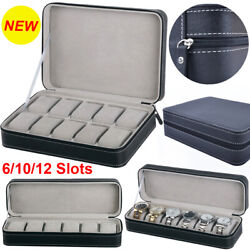 61012 Slots Portable Travel Zipper Watch Collector Storage Jewelry Box Case