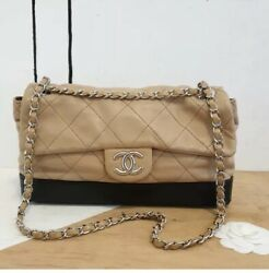 $5K Authentic CHANEL Quilted Beige Black Leather Chain Flap Bag