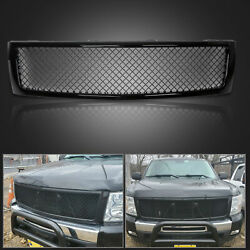 For 2007-2013 Chevy Silverado 1500 Glossy Black Mesh Front Bumper Grill Grille