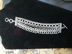 Multi Strand Silver Chain with Toggle Bracelet B136