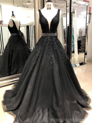Vintage Black Gothic Wedding Dresses V Neck Lace Appliques Beaded Bridal Gowns