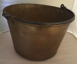 Vintage Antique Copper Bucket Forged handle American Brass Kettle Manufacturers $79.00
