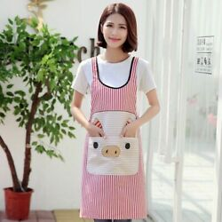 Cute Pig Kitchen Apron Women Men Antifouling Accessories With Pockets Commercial