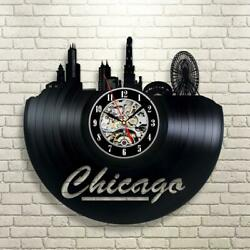Bright Colors for Home Chicago Vinyl Record Clock Wall Decoration Modern...