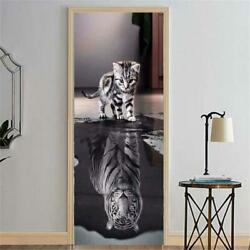 3D Door Decal Stickers Decor Mural Removable Vinyl Cat and Tiger