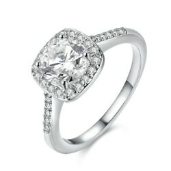 Micro-inlay Princess-Cut Cubic Zirconia Silver Engagement Ring RS18
