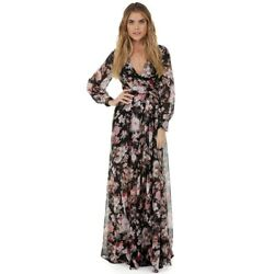 Women  Party Beach Summer Dress Boho Floral Dress Long Sleeve Chiffon Long Maxi