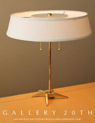 SLEEK! MID CENTURY MODERN BRASS STIFFEL DESK LAMP! ATOMIC VTG 50S DIFFUSER TABLE