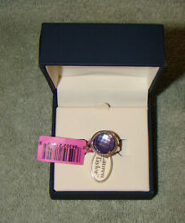 NIB Lauren Taylor Sterling Silver Ring with Purple Stone Size 6 with Tags