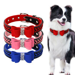 Braided Dog Leather Collar Small to Large Dog Bling Rhinestone Bowknot Necklace $8.99