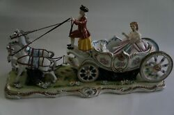 Dresden Figurine. Carriage Two Horses Carrying Huge Stagecoach with Josefina.
