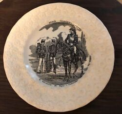 Antique antique plate Black Transfer ware Army PV France Daisy Rim Horse $24.99