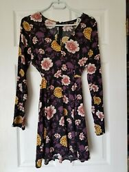 Forever 21 Rayon Open Sided Purple Black Size Small Gorgeous Little Dress $8.99