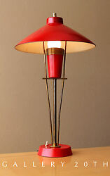FAB! MID CENTURY MODERN FRENCH RED DESK LAMP! ATOMIC ARTELUCE VTG 1950S LIGHTING