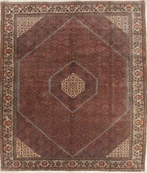 Old Semi Antique Geometric Rug Hand Knotted Wool Vegetable Dye Carpet 8 x 11
