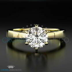 Proposal Diamond Ring 2.00 Carat Solitaire H VS Round Cut Yellow Gold