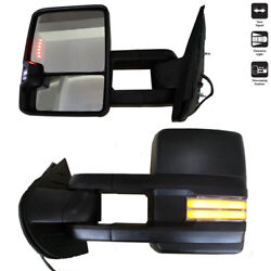 Power Dynamic LED Turn Signal Lamp Blk Towing Mirrors For 88-00 Chevy GMC CK