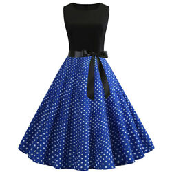 Womens 1950s Vintage Sundress Polka Dot Retro Evening Party Skater Swing Dresses