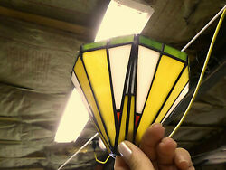 3187M Set 3 Stained Glass Pendant Shades 4quot; Tall Modern Gold Red Blue Green EXC $48.55