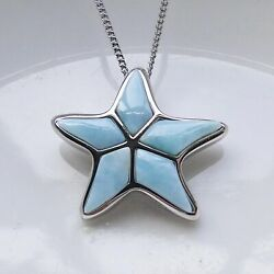 Sterling S925 Dominica Natural Larimar Gemstone Star Necklace Pendant For Women