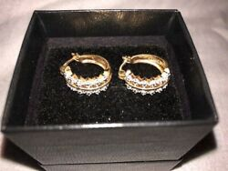 Technibond Hoop Earrings Sterling Silver 14 kt Yellow Gold and Platinum Bonded