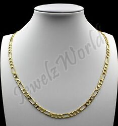 10K Solid Yellow Gold Figaro Link Chain Necklace 2.5MM 16