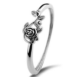 Fashion Flower Shaped 925 Silver Engagement Rings For Women Jewelry Size 6-10