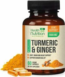 Turmeric Curcumin with Ginger 2600 mg High Absorption Extra Strength Capsules $13.82