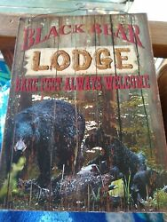 Bear Feet  Welcome Country Lodge Sign Outhouse black bears cabin decor art