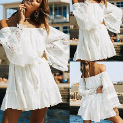 Off Shoulder Lace Short Mini Dress For Women Slim Casual Summer Beach Sundress