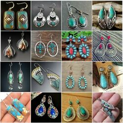Turquoise Earrings Ear Hook Fashion 925 Silver Women Jewelry Wedding Dangle Drop $2.56