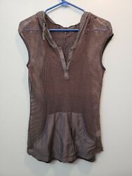 ANTHROPOLOGIE Mur Mur Womens brown mesh hooded top with cami size small