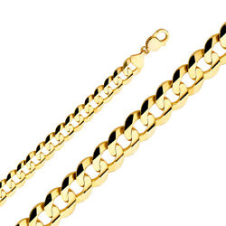 14K Yellow Solid Gold 14mm Cuban Concave Chain Necklace with Lobster Clasp