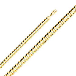 14K Yellow Solid Gold 9.8mm Cuban Concave Chain Necklace with Lobster Clasp