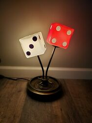 Rare Dice Lamp Casino Roulette Wheel And Dice DeskTable Lamp
