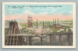 No. 1 Mining Shaft IRONWOOD Michigan—Aurora Mine—Antique Iron Postcard 1923 $12.99