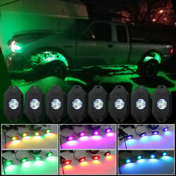 RGB LED Rock Light Wireless Music Controller Offroad Truck Multi-color 8-Pods
