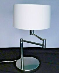 Ralph Lauren Swivel Swing Arm Weighted Chrome DeskTable Lamp w Original Shade