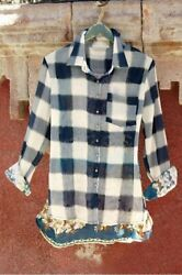 Soft Surroundings Chevalier Plaid Button Front Long Sleeves Top Shirt M Medium
