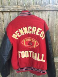 VGC Rennoc Varsity Letterman Jacket XL Red Wool & Nylon She'll  Vinyl Sleeves