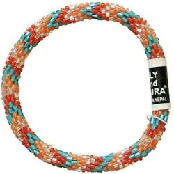 LILY and LAURA quot;Terra Cotta Skyquot; Hand Crocheted Bead Stretch Bracelet Nepal $12.00