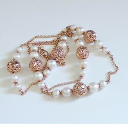 Honora Pearl and Bronze Necklace Rose Gold Color 36