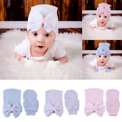 Hospital Newborn Baby Girl Beanie Knit Hat Gloves With Bow Soft Toddler Cap