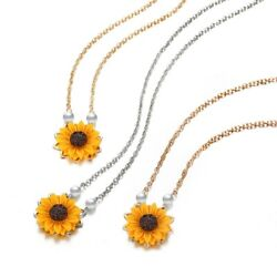 1 Pc Personality Sunflower Pendant  Necklace Pearl Sweater Chain Jewelry