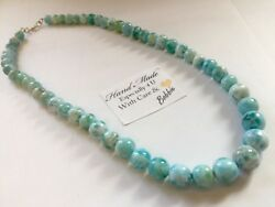 Amazing handcrafted AAA Larimar Necklace 925 silver #N8