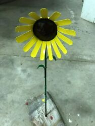 All recycled metal sun flower home garden stake yard art lawn ornament 18