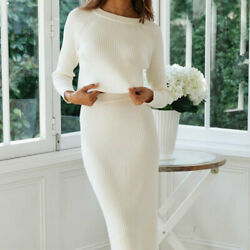 Women Long Sleeve Midi Knitted Dress Sweater Jumper Warm Party Tops Skirt Sets $31.06