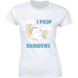 Unicorn Shirt Rainbow I Poop Funny ladies Pink Horn Class Fun Women#x27;s T shirt $12.99
